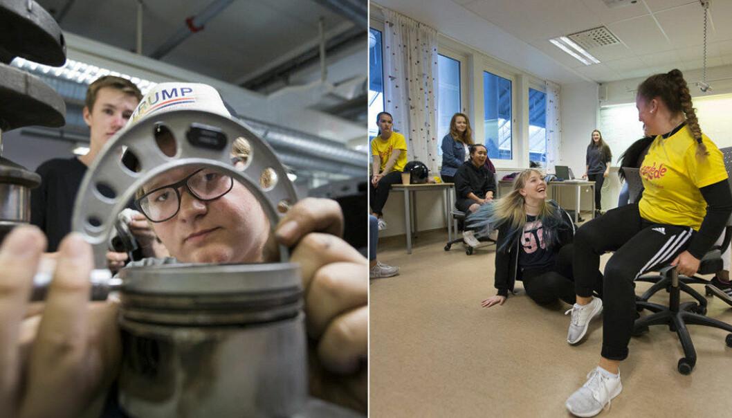 Man merker stort sett hva slags yrkesfag-klasse man er i hvis man ser på elevene. Guttefag og jentefag er en utfordring Skole-Norge sliter med å møte. Illustrasjonsfoto: Werner Juvik.