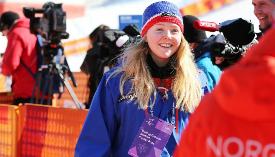 Johanne Killi smiler bredt når hun får holde på med idretten hun elsker, her fra OL-finalen i Pyoengchang. Hva hun skal bli etter karrieren, stresser hun foreløpig ikke med. Foto: Erik Johansen / NTB scanpix.