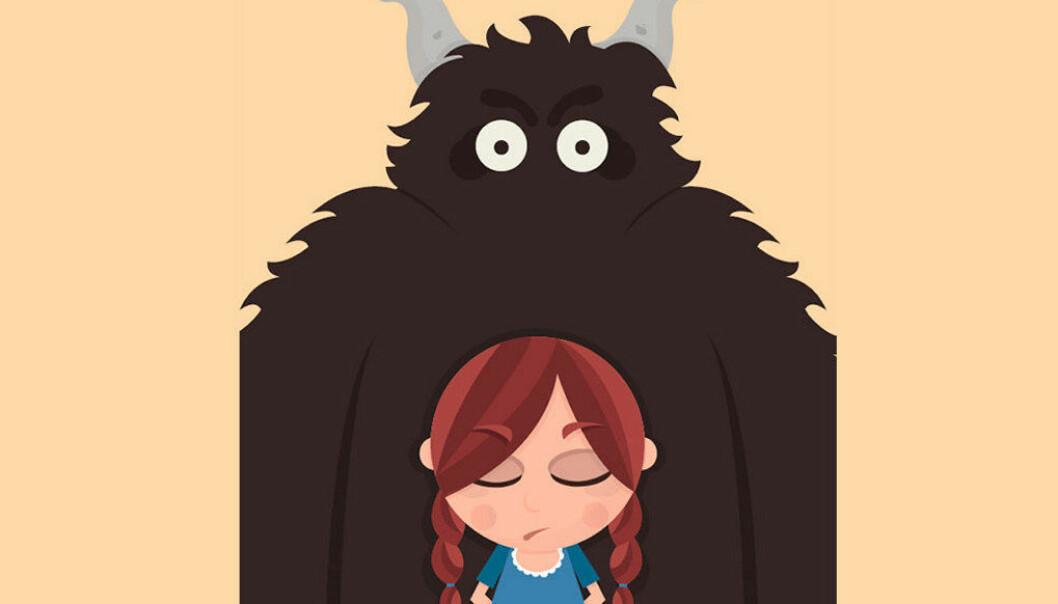En hovedfaktor ved angst er vegring og det å unngå situasjoner som de vet vil utløse angst. Illustrasjon Eli Bye Sørensen