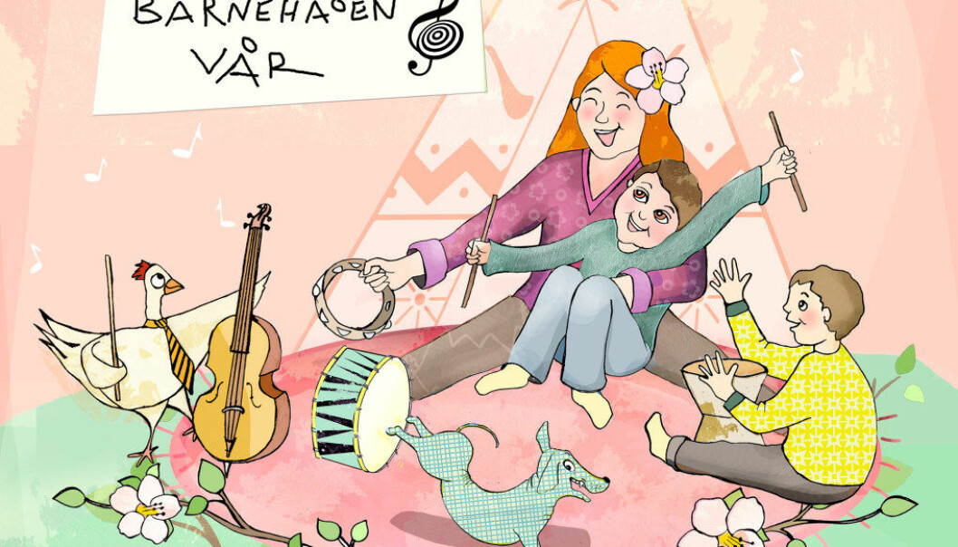 Mer sang og musikk i barnehagen fører til at  både barn og voksne oftere tar initiativ til sang og spill på instrumenter, viser et prosjekt i Bergen. Illustrasjon: Lene Bakke Jacobsen
