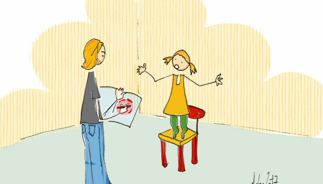 Mens jeg sto med nesa i skjemaet for å registrere barnas trivsel forsøkte Alice vise meg et nytt triks. Oppgitt over min manglende tilstedeværelse krøp hun opp på en pinnestol, veivet med armene og ropte: «Se meg, da, Morten!» Illustrasjon: Morten Solheim