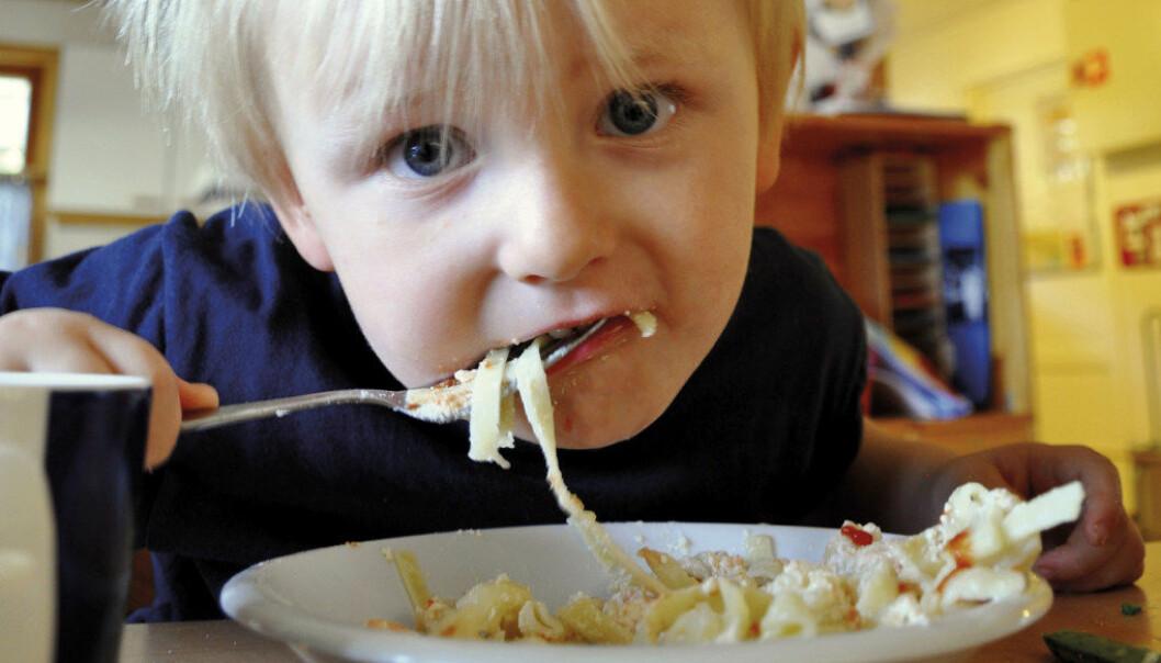 Benjamin S. Johansen i Tandstad barnehage storkoser seg med laksegryte til lunsj. Langt fra alle barnehager kan servere varm mat til barna. Foto: Gyri Aure