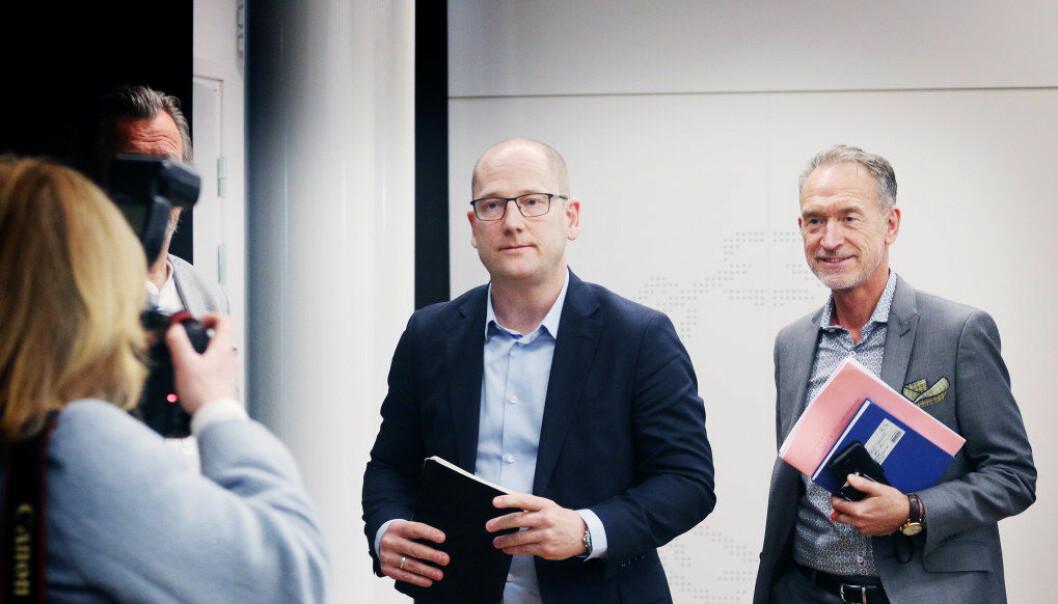 Unios forhandlingssjef Steffen Handal og forhandlingsleder for KS, Tor Arne Gangsø under tariffstarten i KS-området i Oslo i dag. Foto: Jørgen Jelstad