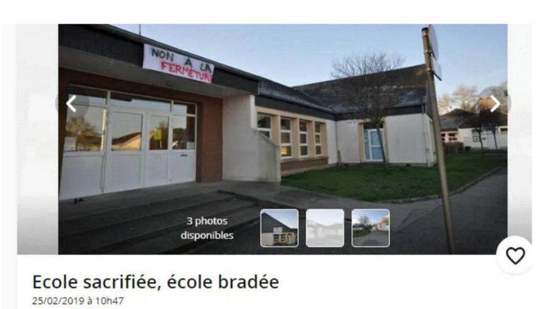 Salsannonsen for skulen, der det står «Skulen er ofra, skulen er seld», vart lagt ut på annonsenettstaden Leboncoin.fr.