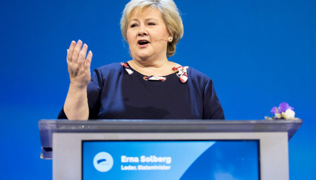 De nye regionene vil få et større ansvar i kompetansepolitikken, understreket statsminister og partileder Erna Solberg på Høyres landsmøte på Gardermoen, som åpnet fredag. Foto Vidar Ruud/NTB Scanpix
