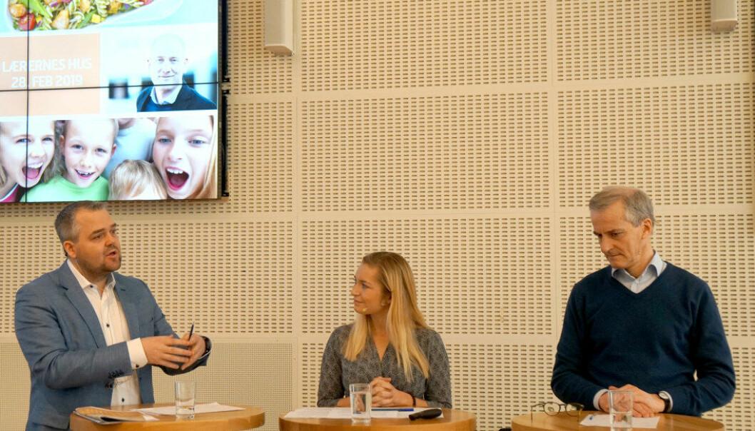 Debatterte skolemat på frokostmøte: Roy Steffensen (Frp), Mathilde Tybring-Gjedde (H) og Jonas Gahr Støre (Ap). Foto: Marianne Ruud