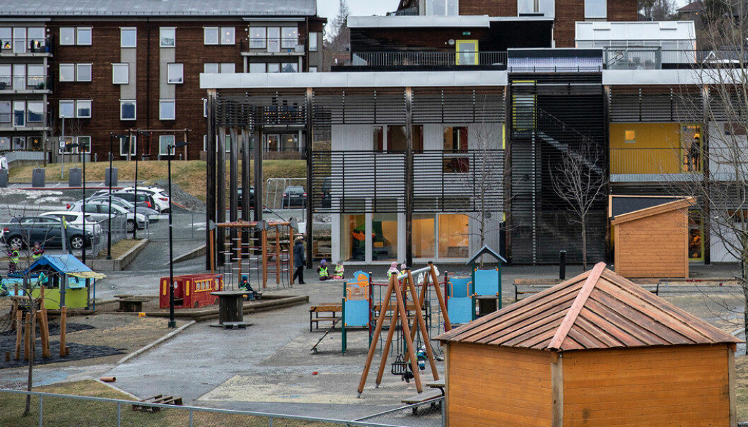 Tallene viser at Gnist-barnehagene har hatt lavere bemanning enn de andre store barnehagekjedene. Gnist Trøa i Trondheim er nå under økonomisk tilsyn av kommunen. Foto: Espen Bakken/Adresseavisen..