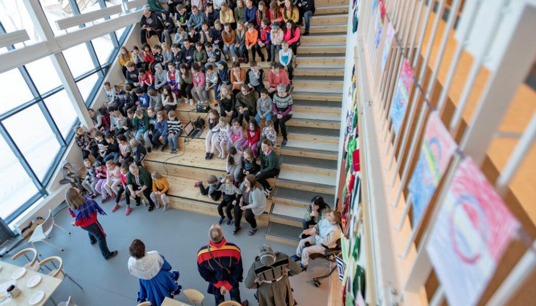 På Tanabru skole i Tana kommune i Finnmark åpnet de dagen med samenes nasjonalsang for å feire dagen. Foto: Alf Ove Hansen.