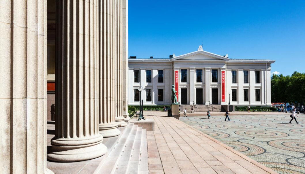 Universitetet i Oslo. Det juridiske fakultet i Karl Johans gate i Oslo sentrum, med Midtbygningen til venstre og Domus Academica ('Urbygningen») til høyre. Foto: © Svein Nordrum / NTB scanpix