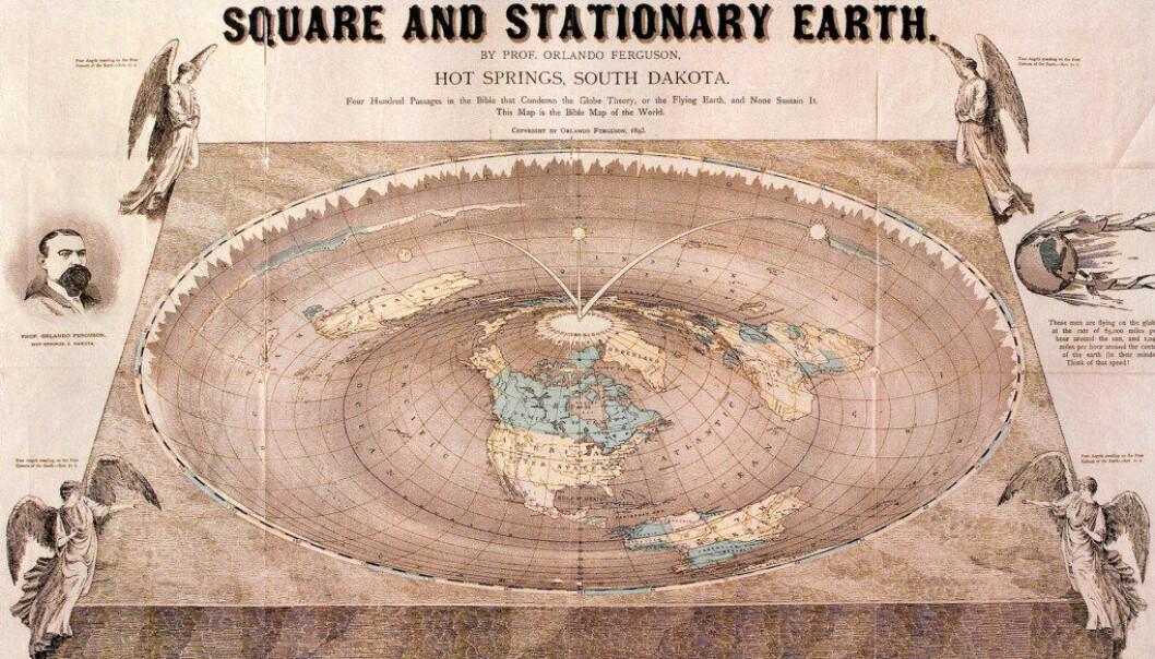 """Teorier om at jorda er flat, har fremdeles fotfeste i enkelte miljøer. Illustrasjonen viser professor Orlando Fergusons """"bibelske"""" kart over en flat jord med fire hjørner, datert 1893.  Ill: Wikimedia Commons."""