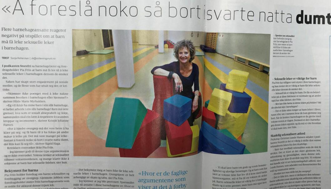 – Pia Friis' tanker om barn og seksuell lek er frapperende tidsriktige. Samfunnet er sykelig sex-fiksert, skriver Halvard Lars Udnesseter. (Faksimile fra Utdanning 3/2019).