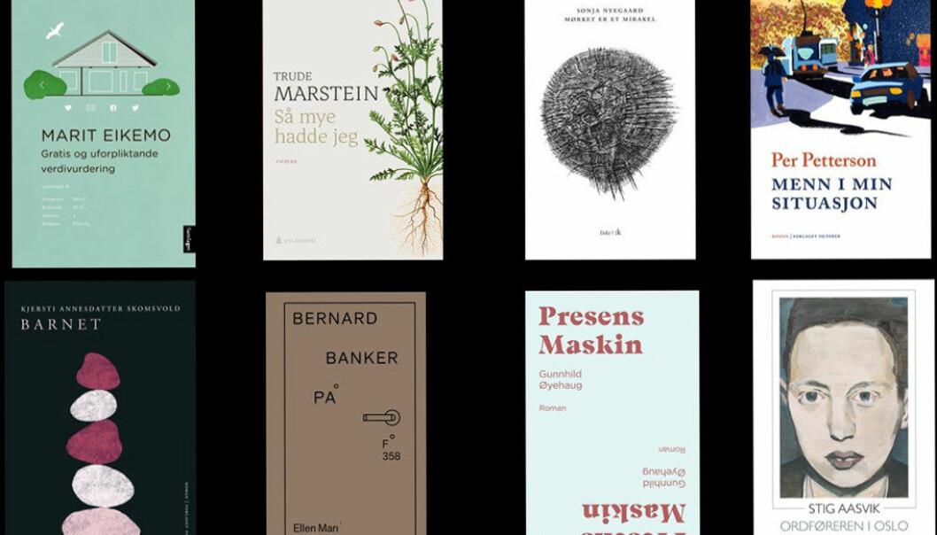 Forsidene til de nominerte bøkene til Ungdommens kritikerpris 2019.