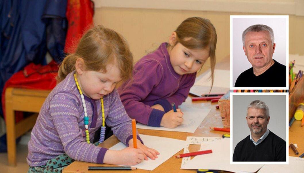Vi synes blant annet det er bra at barnehagesektoren får en klarere nasjonal retning for hva innholdet i barnehagen skal være, skriver Arild M. Olsen og Erling Lien Barlindhaug i dette innlegget. Foto: PBL