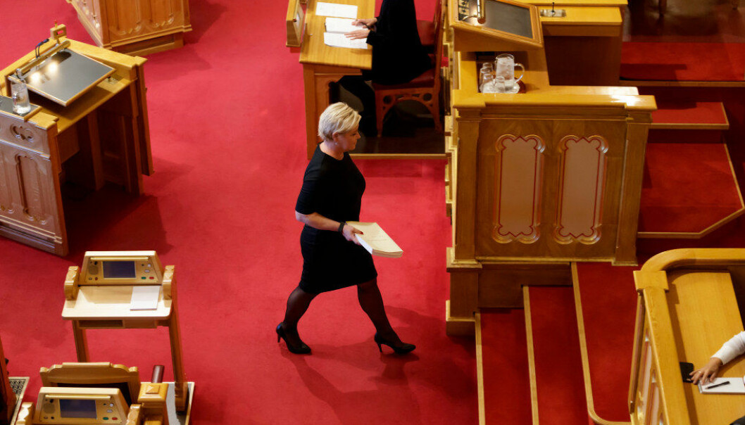 Siv Jensen i Stortinget i dag. Foto: Cornelius Poppe / NTB scanpix
