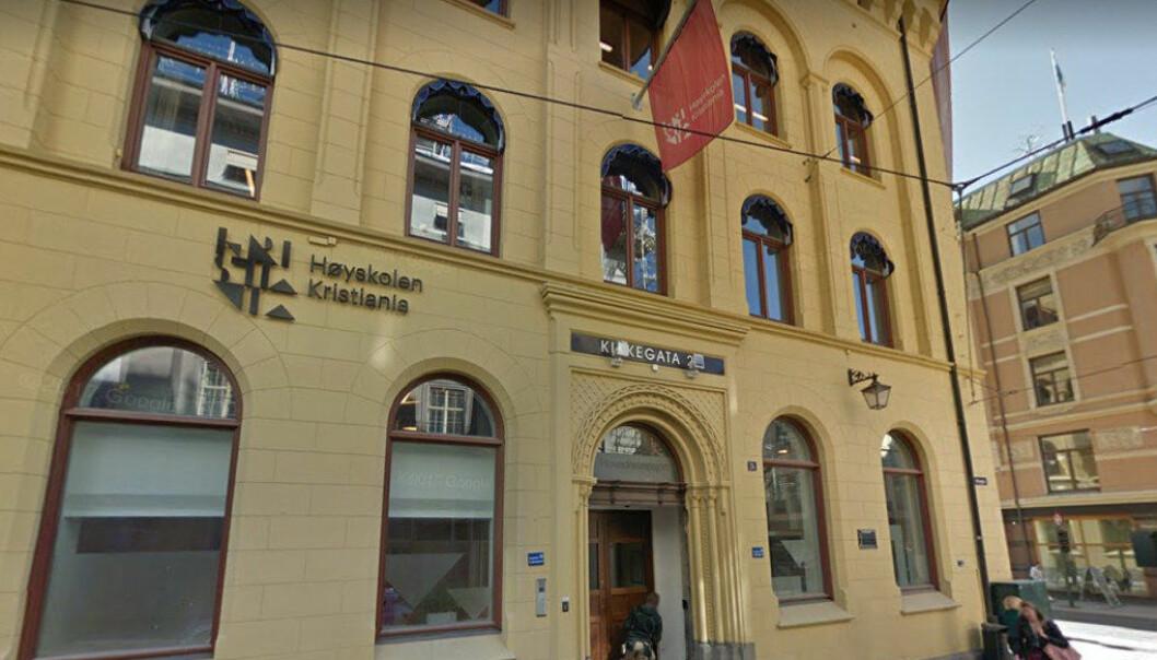 Høyskolen Kristiania er blant dem som vil få en del av de 9 millionene regjeringen foreslår til fusjoner og omorganiseringer ved private høgskoler. Foto Google