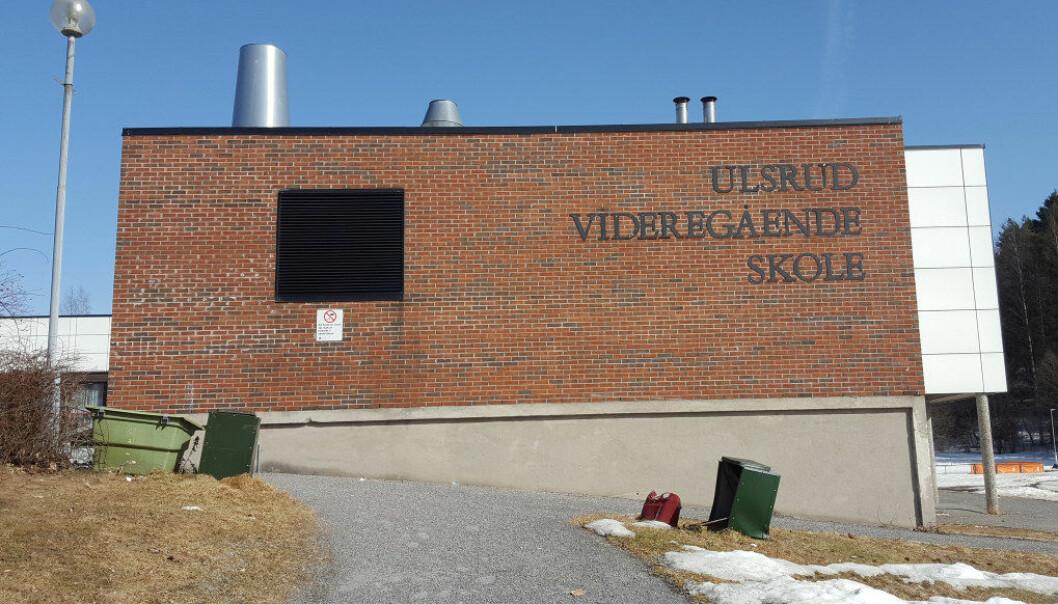 Ulsrud videregående skole er blant skolene i Oslo der forholdsvis mange elever har faglige og sosiale problemer. Nå vil byrådet få vurdert om andre inntaksregler kan bidra til en mer variert sammensetting av elever ved skolene i byen. Arkivfoto: Marianne Ruud
