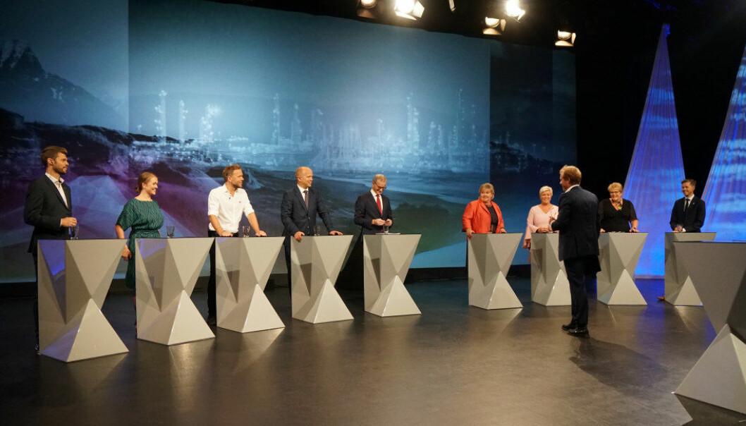 Fra partilederdebatten i går. Foto: Marianne Ruud