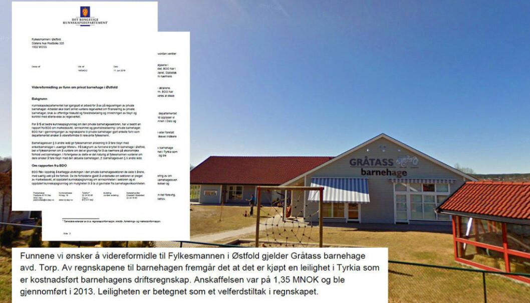 Gråtass Barnehage AS  i Østfold er en av flere navngitte barnehager som Kunnskapsdepartementet ønsker at fylkesmannen ser nærmere på. Denne barnehagen har kjøpt og solgt leilighet i Tyrkia, og kjøpt leilighet på Hafjell for de ansatte. Foto/montasje: Google/Paal Svendsen