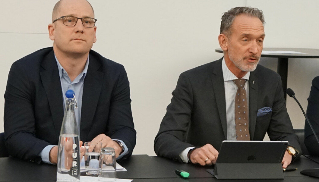 Steffen Handal i Utdanningsforbundet / Unio og Tor Arne Gangsø i KS. Foto: Jørgen Jelstad