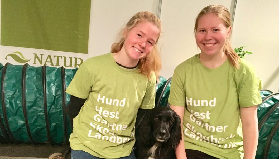 Ida Thue Voss (til venstre) og Mia Standal går i andre klasse på hundelinja ved Natur videregående skole i Oslo. Foto: Liv Tokstad/Natur videregående skole