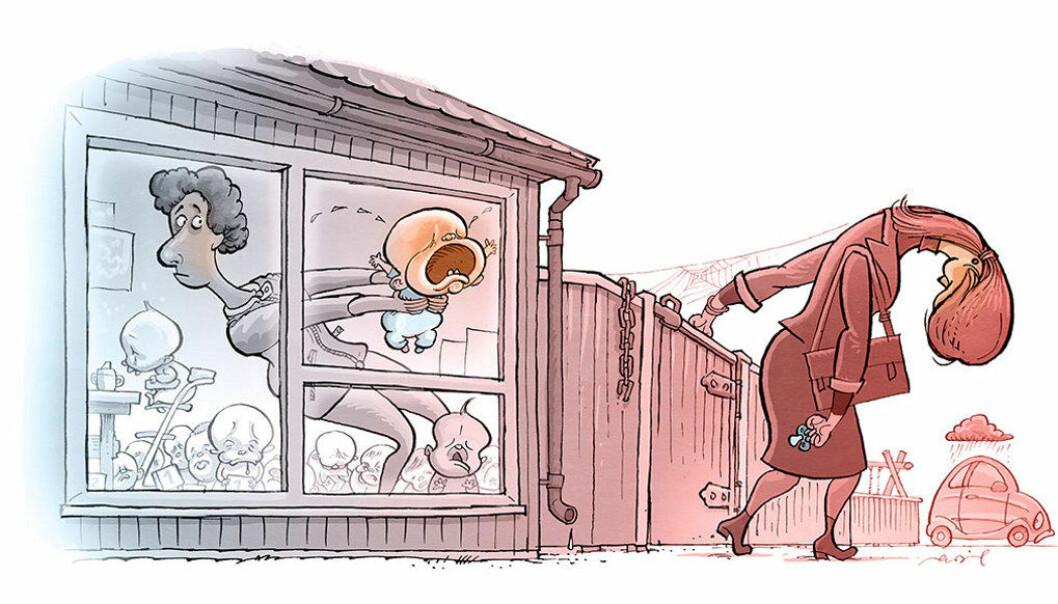 Foreldreutvalget for barnehager er redde for at barna ikke har fått god nok tid til tilvenning, slik at de blir trygge i barnehagen. Og de er redde for at foreldre må forlate barna uten å være trygge for at de har det bra. Ikke minst henvendelser fra bekymra foreldre vekker uro. Illustrasjon: Egil Nyhus