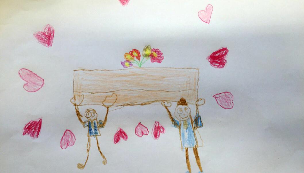 Etter besøket sendte ungene tegninger til begravelsesbyrået. Disse har byrået tatt godt vare på.