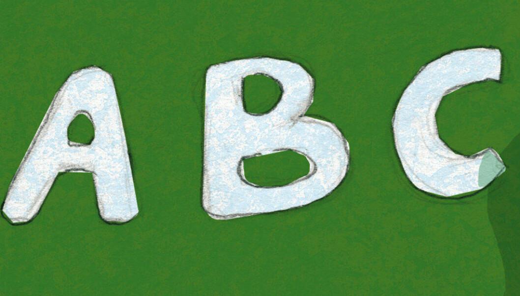 Ta tilbake bokstavbrikkene. Med dem kan barna lage ord og setninger lenge før de er i stand til å skrive dem, er 1 av 5 råd Berit Børresen lanserer som en plan for å bøte på leseproblemene i skolen. Ill.: Tone Lileng