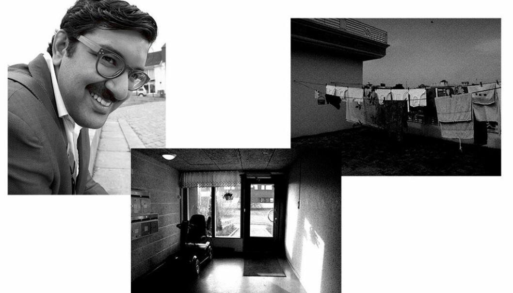Bilder tatt av Assad Nasir (innfelt). Nederst: Fra serien «Home», bilder tatt på Furuset i Oslo, der Nasir er født og oppvokst. Til høyre: «Objectivity», tatt i 2011 i byen Lalamusa i Pakistan, som Nasirs bestefar flyttet fra på 1970-tallet. Foto: Assad Nasir
