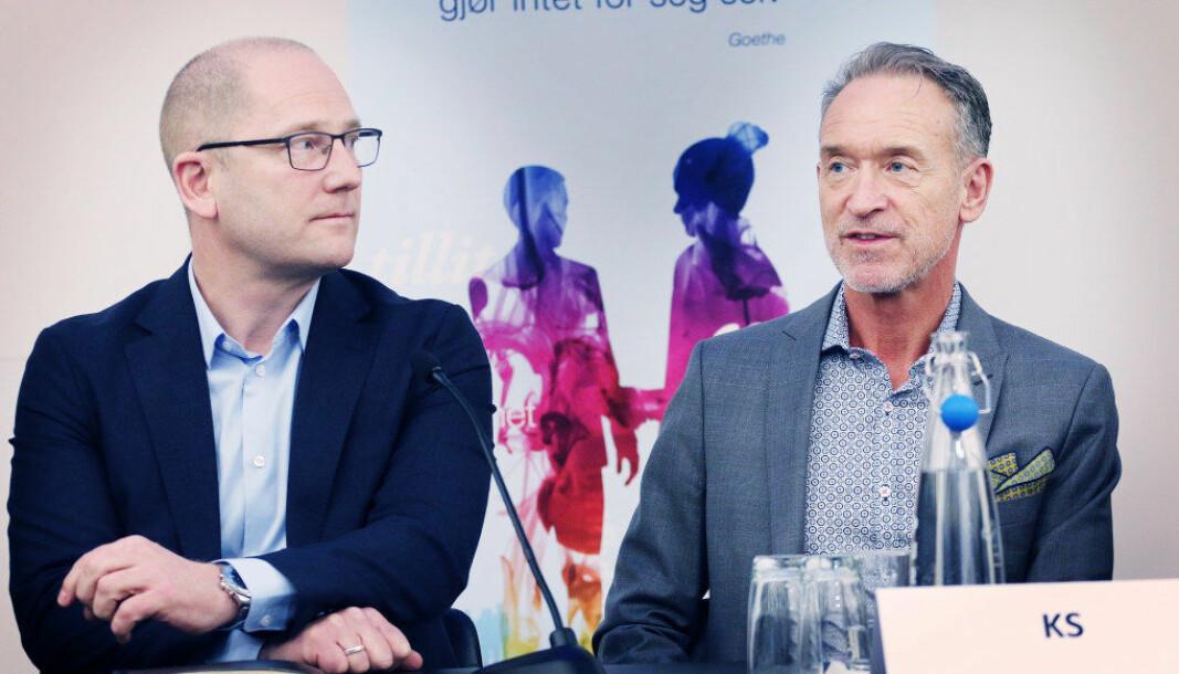tForhandlingslederne Steffen Handal (Unio kommune) og Tor Arne Gangsø (KS) Foto: Jørgen Jelstad