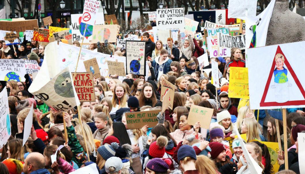 Stortingsrepresentant Une Bastholm (MDG) fremmet torsdag et forslag i Stortinget om å gi streikerett til skoleelever. Bildet er fra klimastreiken i slutten av mars. Arkivfoto: Utdanning