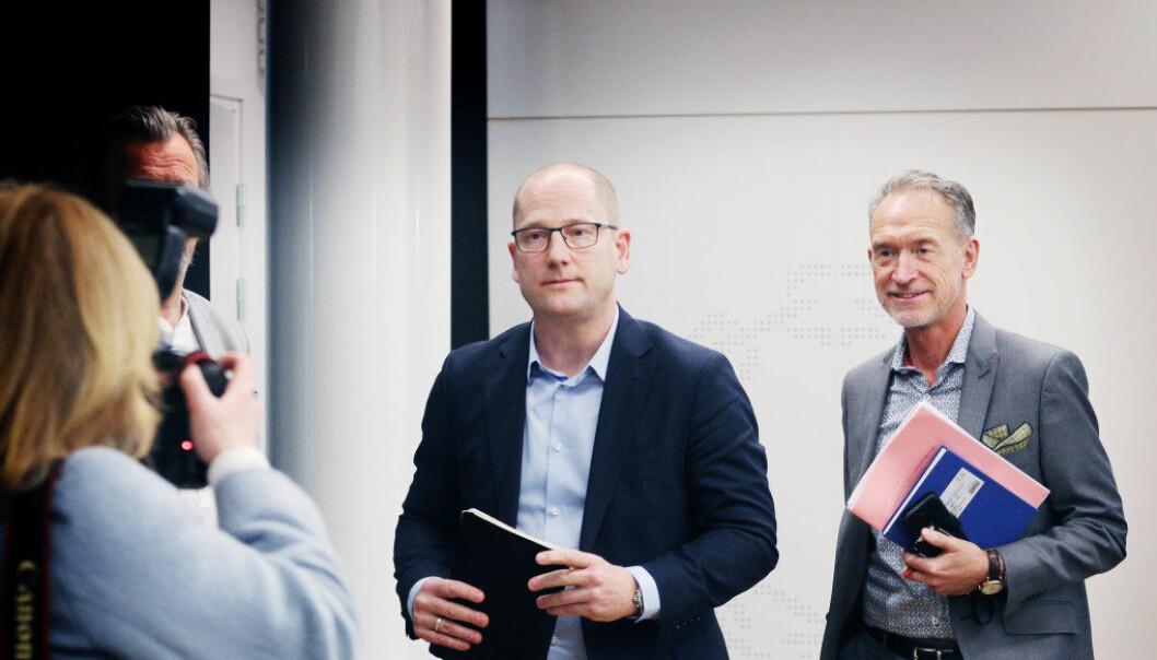 Forhandingsleder i Unio, Steffen Handal, og KS' forhandlingsleder Tor Arne Gangsø klarte ikke å bli enige. Dermed går oppgjøret mellom Unio og KS til mekling. Bildet er tatt under oppstarten av tarifforhandlingene. Foto: Jørgen Jelstad