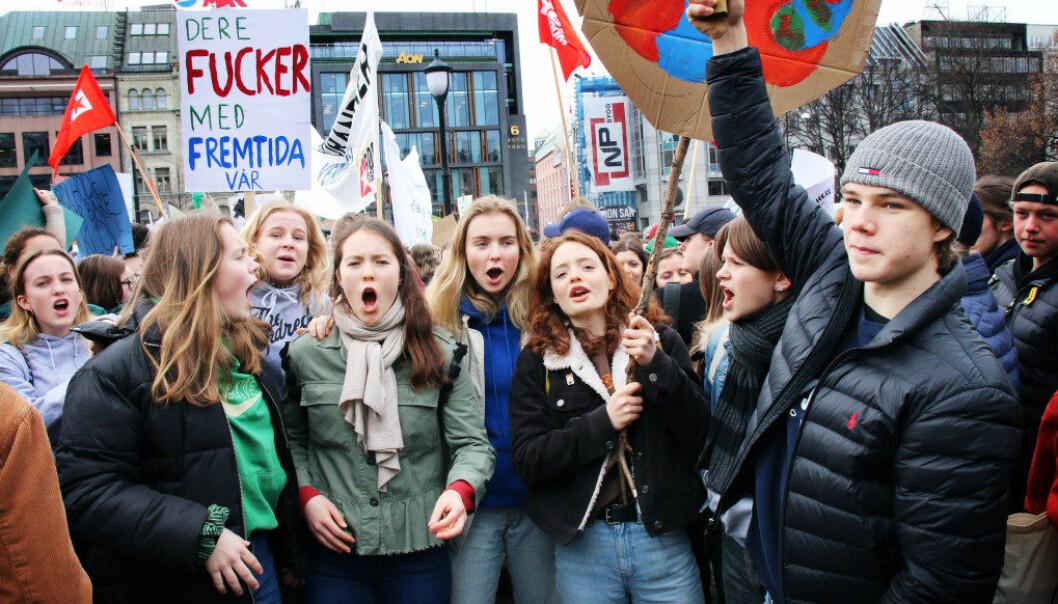 Til sammen tok 40.000 norske barn og unge til gatene i klimastreik 22. mars. Nå blir det ny streik fredag 24. mai. Foto: Jørgen Jelstad