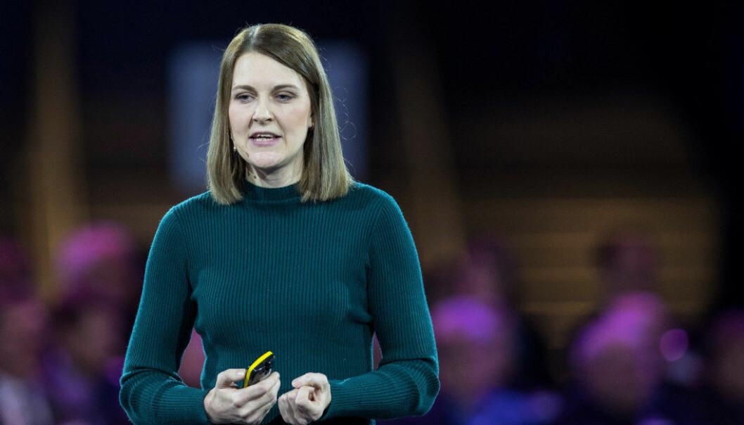 Katrine Vellesen Løken, professor i samfunnsøkonomi ved Norges Handelshøyskole, holder innlegg på NHOs årskonferanse 2018. Foto: Vidar Ruud / NTB scanpix