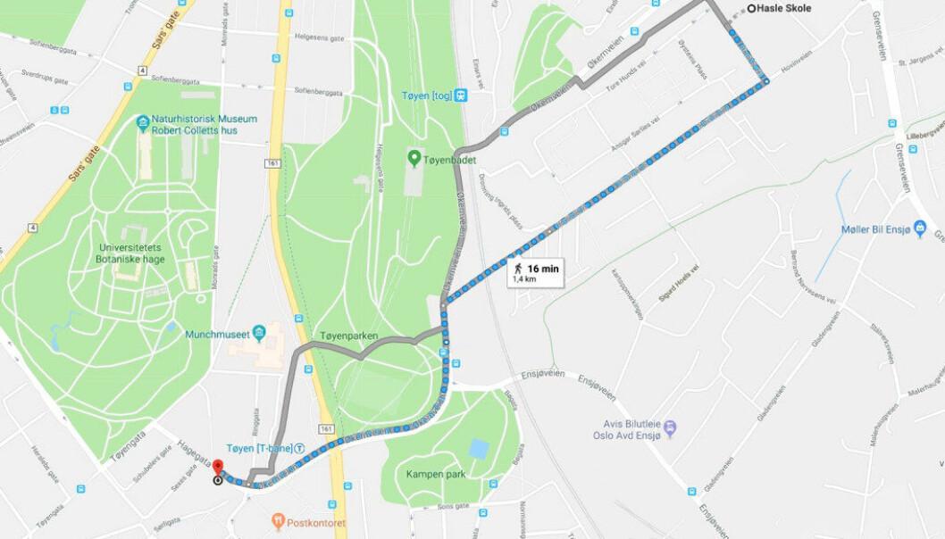 Det er bare 1,4 kilometer mellom Oslos beste skole, Hasle skole, til Tøyen skole, som er på nest sisteplass. Skjermdump fra Google Maps.