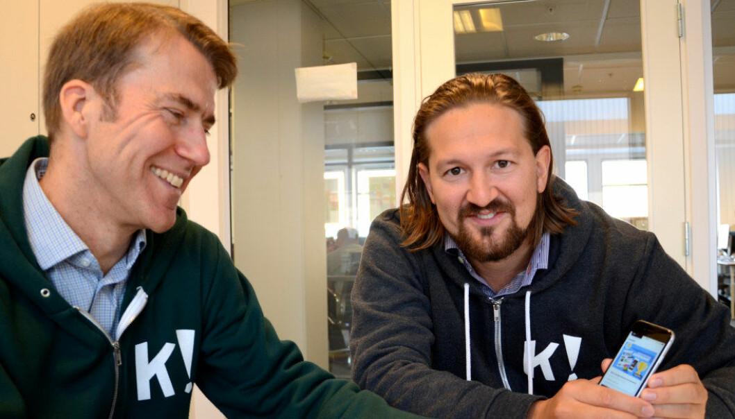Administrerende direktør Erik Harrell og gründer Åsmund Furuseth. Foto: Kari Oliv Vedvik