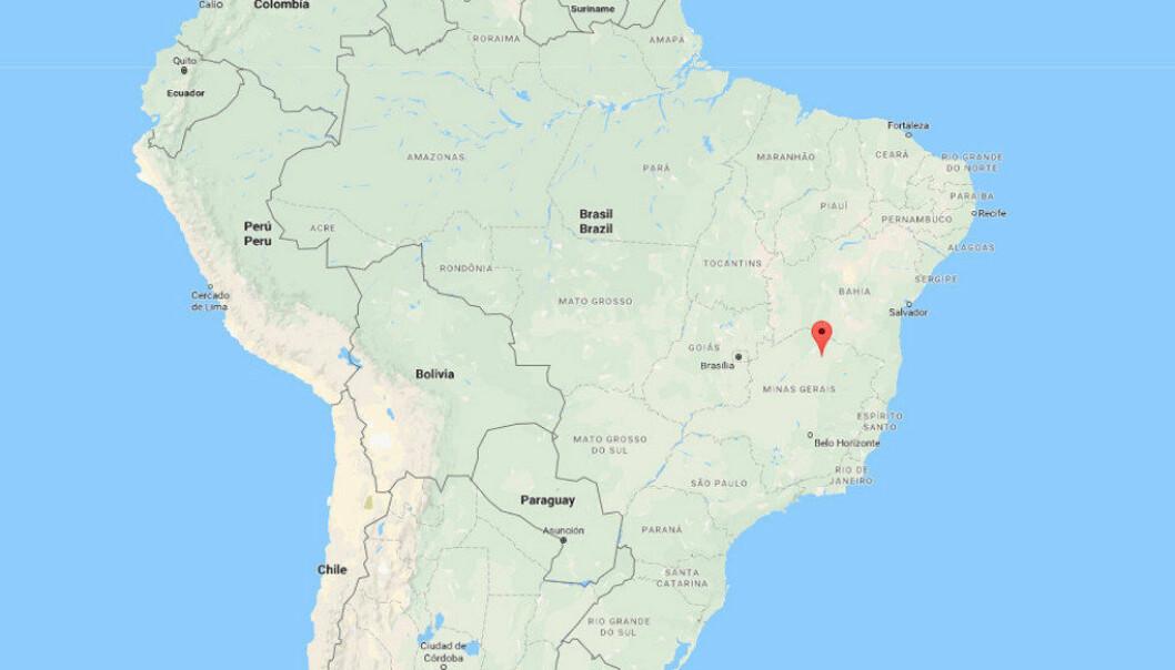Janauba ligger cirka 700 kilometer øst for Brasils hovedstad Brasilia. Kart: Google