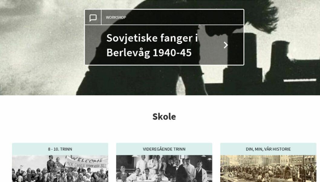 Arkivverkets nye skolesider gjør det mulig både å laste ned materiale til undervisningen og presentere egne prosjekter om historie. Skjermdump fra nettsidene.