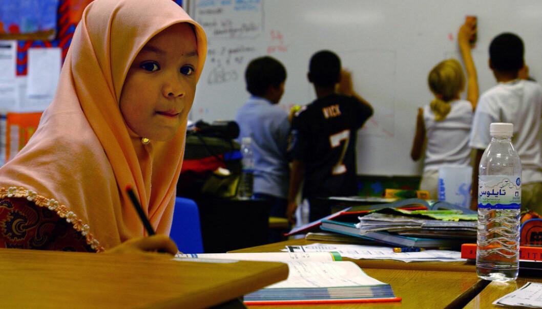 Hijab må forbys i norske barneskoler, foreslår innvandringsminister Sylvi Listhaug. Illustrasjonsfoto fra en skole i Bahrain. Foto Shane T. McCoy/Wikimedia Commons
