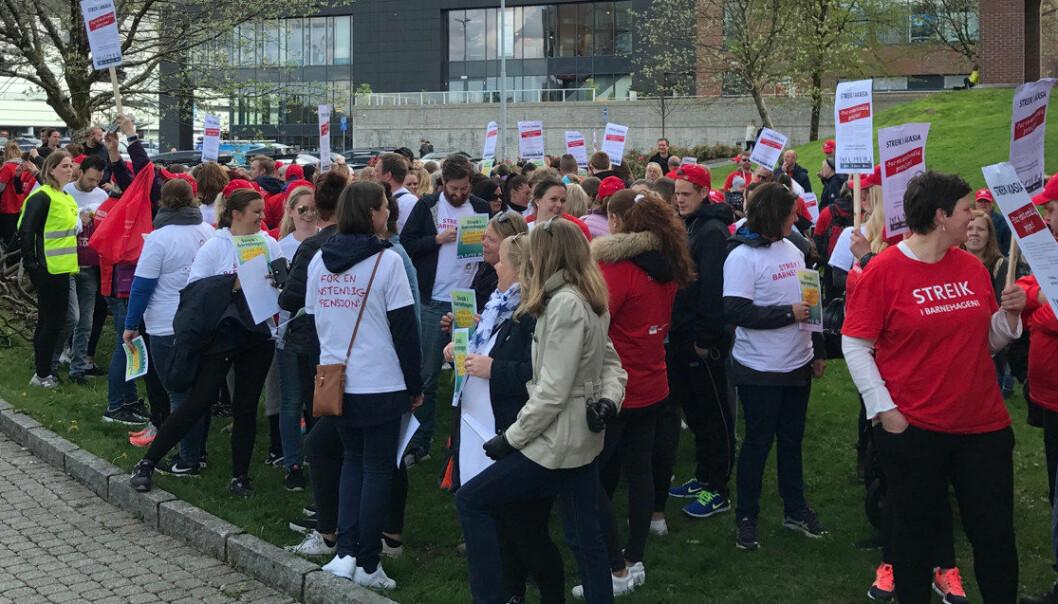 Fra torsdag 18. mai kan streiken i Akasia-barnehagene i Bergen trapper ytterligere opp. Foto: Odd Arild Viste, Utdanningsforbundet
