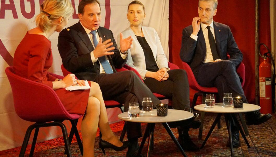 Fra venstre: debattleder Marte Gerhardsen, Stefan Löfven, Mette Frederiksen og Jonas Gahr Støre. Foto: Marianne Ruud