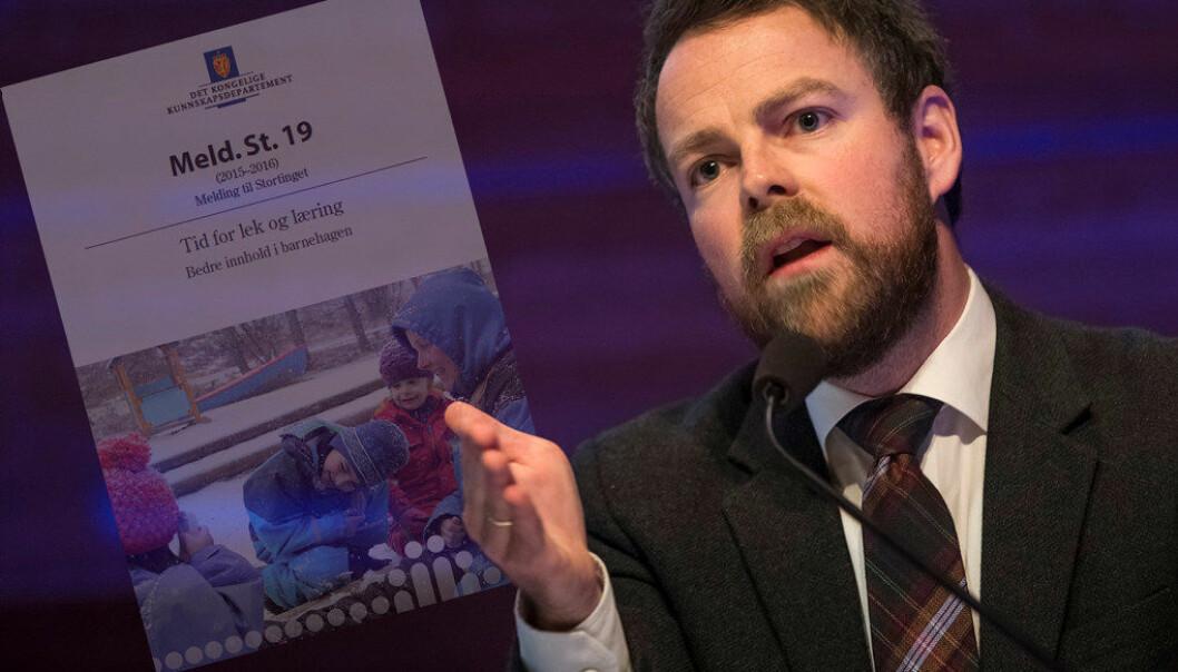 Regjeringa får ikkje fleirtal i Stortinget for å innføre ein språknorm i barnehagen. Arkivfoto: Utdanning