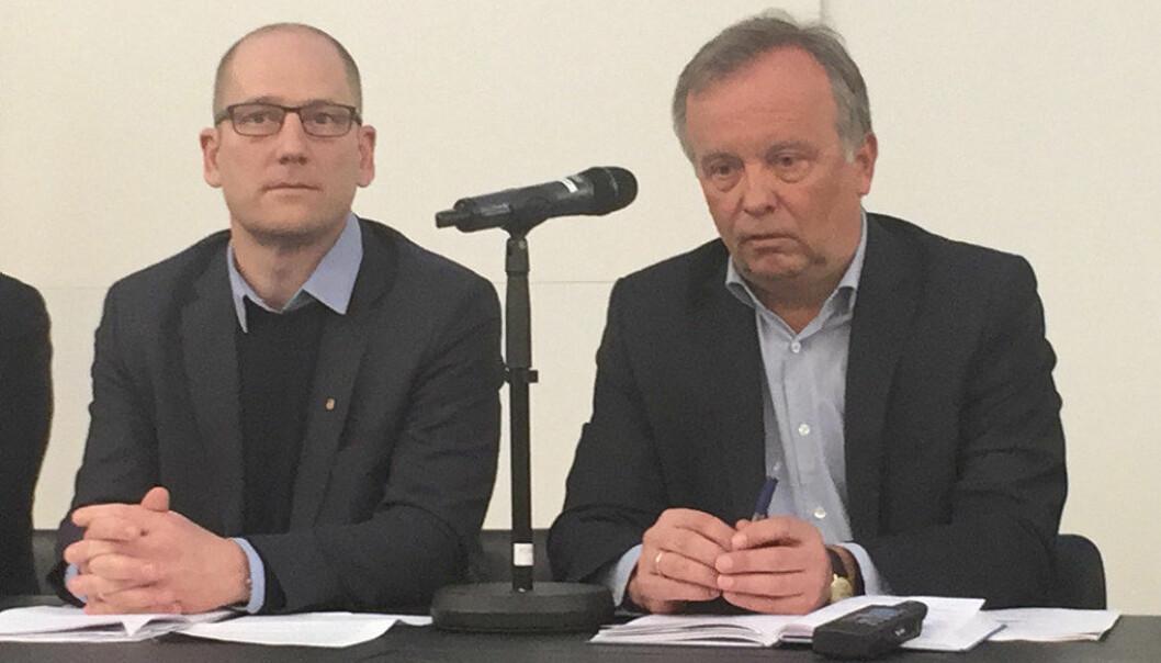 Steffen Handal (Unio kommune) og Per Kristian Sundnes i KS under starten av tariffoppgjøret tidligere denne måneden. Foto: Paal Svendsen