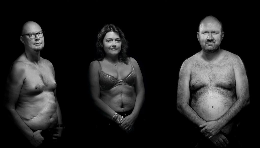 F.v: Michael Watters (44), Karianne Viken (40) og Øivind Kolloen (44) har fått nye organer, hhv. nyre og bukspyttkjertel, lever og hjerte. Foto: Tom-Egil Jensen