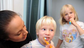 Barnepleier Sara Sandberg hjelper søskenparet Thea og Jamie Krantz med tannpussen før sengetid. Foto: Marianne Otterdahl-Jensen