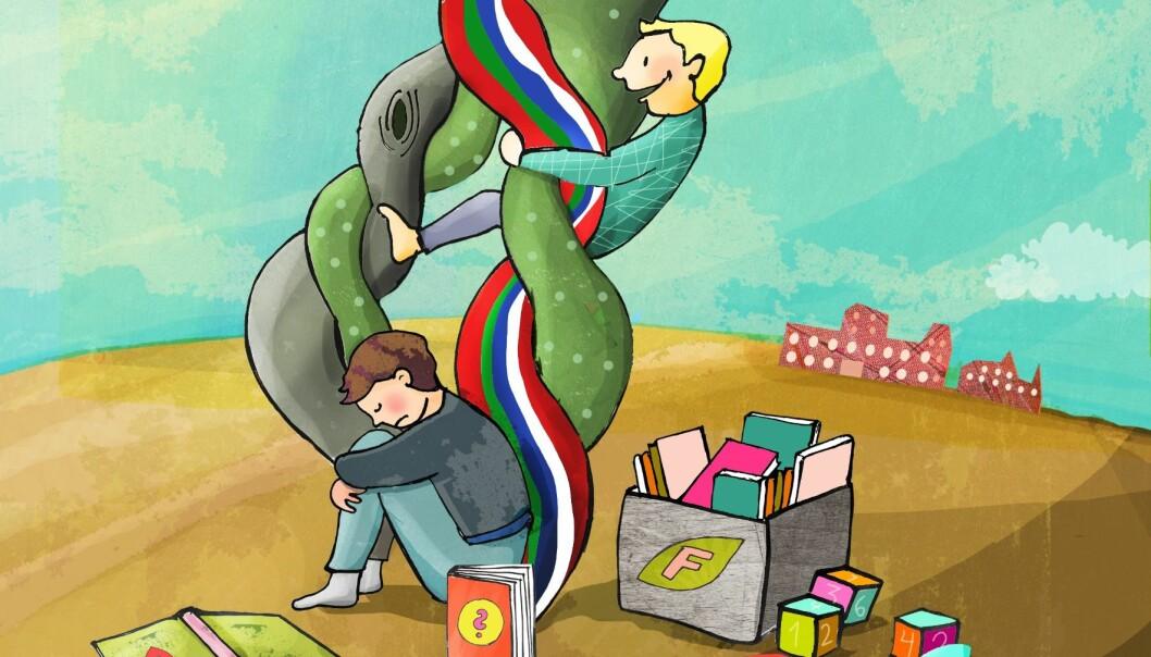 I Hviterussland får barn med språkvansker hjelp i små grupper sammen med barn med samme utford-ringer, mens de i Norge inkluderes sammen med de andre barna. Begge praksisene har noen utfordringer, ifølge doktorgrad. Illustrasjon: Lene Bakke Jacobsen