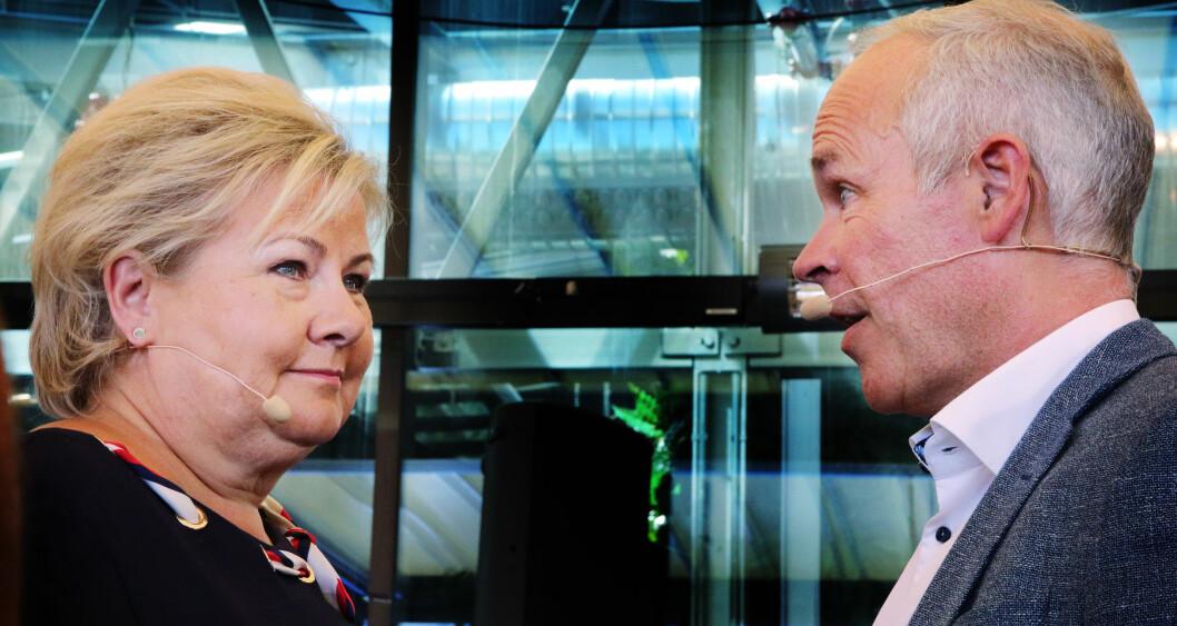 Erna Solberg og Jan Tore Sanner presenterte 50 punkter om skolepolitikk for å understreke at skole er valgkampsak nummer en. Foto: Jørgen Jelstad.