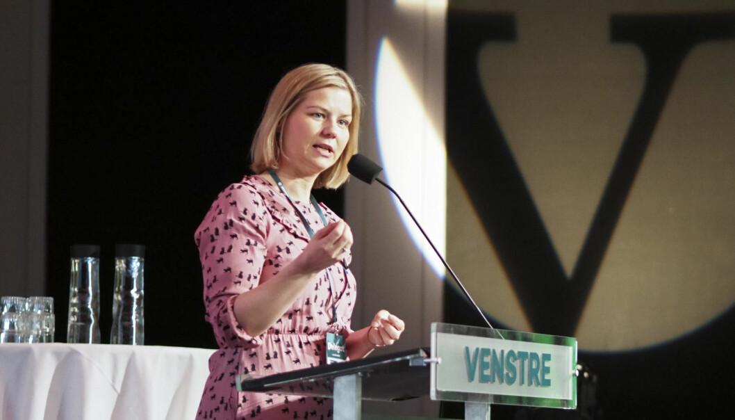 Venstres utdanningspolitiske talsperson Guri Melby krever at gratis SFO for lavinntektsfamilier blir en realitet fra neste år. Foto: Oda Scheel, Venstre.