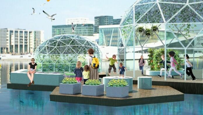 Den flytende skolehagen skal bygges ut etter hvert, og slik ser man det for seg. Fra: oslofjordhage.no.
