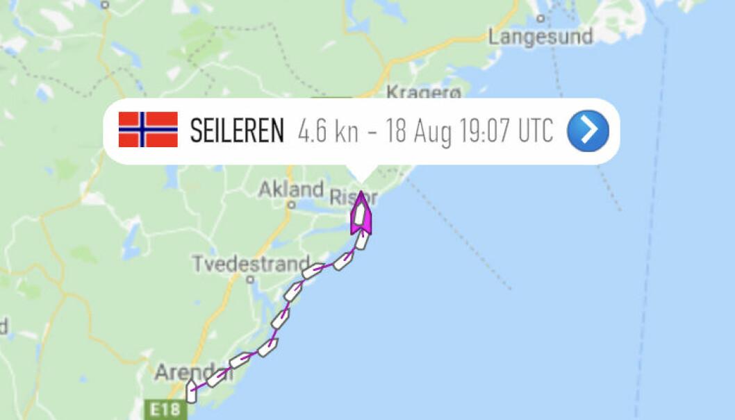 Båten har AIS-system som gjør at den kan følges på Marine Traffic-appen. Båtens navn er «Seileren». Neste stopp er Langesund. Grafikk: Skjermdump fra Marine Traffic