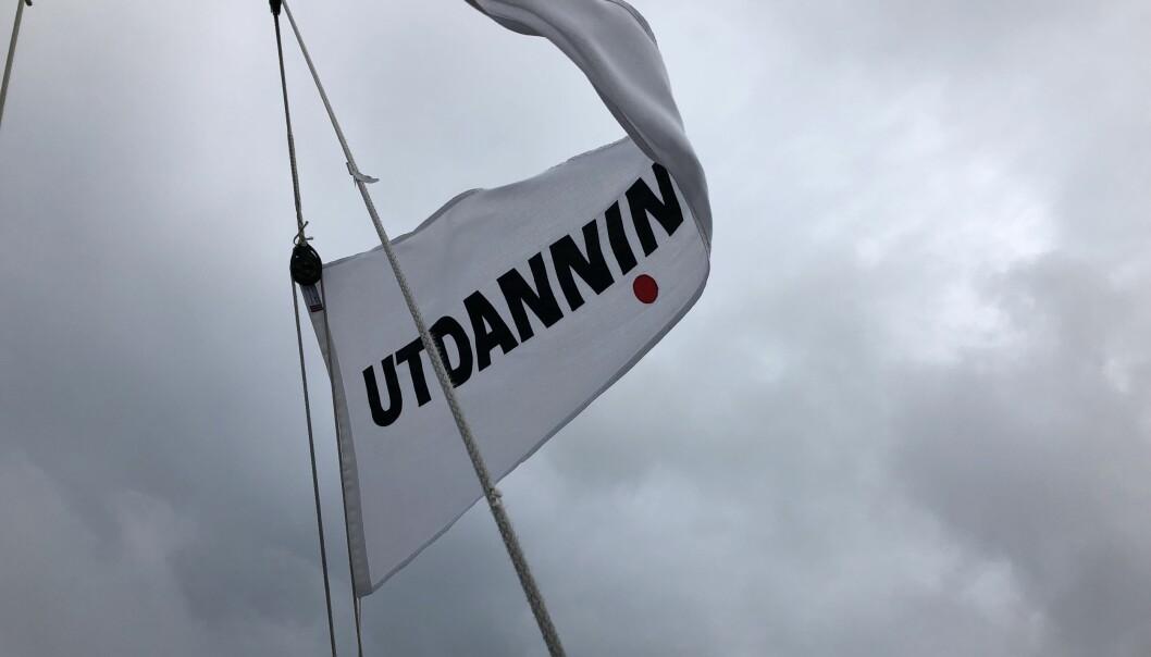 Se etter vimpelen vår når vi seiler fra Arendal til Oslo. Foto: Kari Oliv Vedvik
